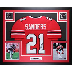 Deion Sanders Signed Atlanta Falcons 35x43 Custom Framed Jersey (JSA COA)