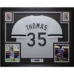 Frank Thomas Signed Chicago White Sox 35x43 Custom Framed Jersey Display (Leaf COA)