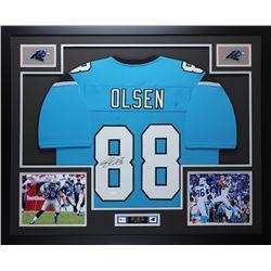 Greg Olsen Signed Carolina Panthers 35x43 Custom Framed Jersey Display (JSA COA)