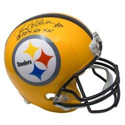 "Rocky Bleier Signed Pittsburgh Steelers Full-Size Helmet Inscribed ""SB IX, X, XIII, XIV"" (SI COA)"