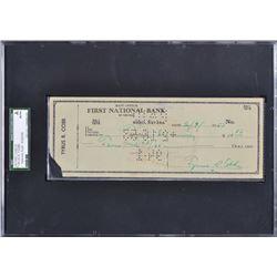 Ty Cobb Signed Personal Check (SGC Encapsulated  JSA LOA)