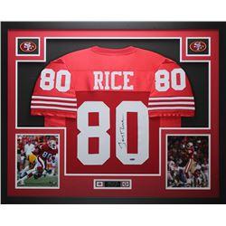 Jerry Rice Signed San Francisco 49ers 35x43 Custom Framed Jersey Display (TriStar Hologram)