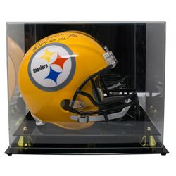 """Rocky Bleier Signed Pittsburgh Steelers Full-Size Helmet Inscribed """"SB IX, X, XIII, XIV"""" with Acryli"""