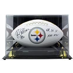 "Rocky Bleier Signed Pittsburgh Steelers Logo Football Inscribed ""SB IX X XIII XIV"" with Acrylic Disp"