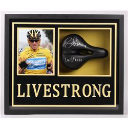 """Lance Armstrong Signed Bicycle Seat 5.5x21.5x25.5 Custom Framed Shadow Box Display Inscribed """"Livest"""