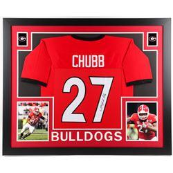 Nick Chubb Signed Georgia Bulldogs 35x43 Custom Framed Jersey (JSA COA)
