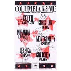 Columbia Nashville LE 13.25x21.75 Poster Signed by (6) with Jessica Simpson, Gretchen Wilson, Montgo