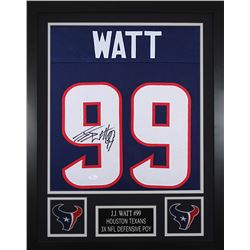 JJ Watt Signed Houston Texans 24x30 Custom Framed Jersey (JSA COA)