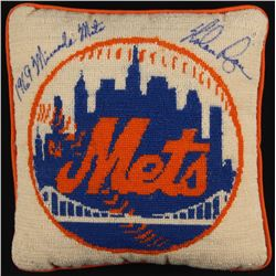 """Nolan Ryan Signed Vintage New York Mets Quilted Pillow Inscribed """"1969 Miracle Mets"""" (PSA LOA)"""