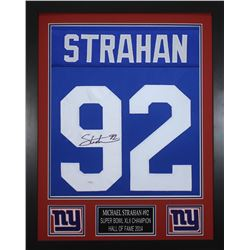 Michael Strahan Signed New York Giants 24x30 Custom Framed Jersey (JSA COA)