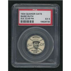 1935 Quaker Babe Ruth Pin #1 Babe Ruth / Yankee Cap (PSA 5)