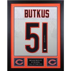 Dick Butkus Signed Chicago Bears 24x30 Custom Framed Jersey (JSA COA)
