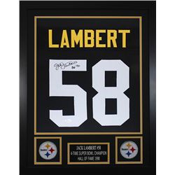 Jack Lambert Signed Pittsburgh Steelers 24x30 Custom Framed Jersey (JSA COA)