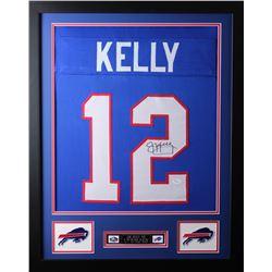 Jim Kelly Signed Buffalo Bills 24x30 Custom Framed Jersey (JSA COA)