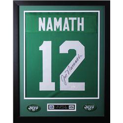 Joe Namath Signed New York Jets 24x30 Custom Framed Jersey (JSA COA)