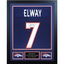 John Elway Signed Denver Broncos 24x30 Custom Framed Jersey (JSA COA  Elway Hologram)
