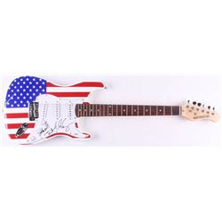 """Alice Cooper Signed Full-Size """"American Flag"""" Electric Guitar Inscribed """"School's Out"""" (PSA COA)"""