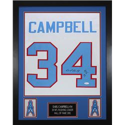 "Earl Campbell Signed Houston Oilers 24x30 Custom Framed Jersey Inscribed ""HOF 91"" (JSA COA)"