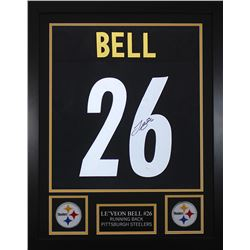Leveon Bell Signed Pittsburgh Steelers 24x30 Custom Framed Jersey (JSA COA)
