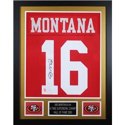 Joe Montana Signed San Francisco 49ers 24x30 Custom Framed Jersey (JSA COA  Montana Hologram)