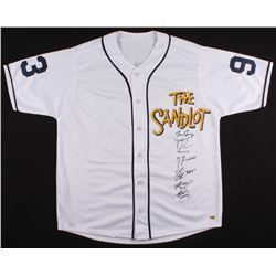 The Sandlot Jersey Signed by (6) With Tom Guiry, Chauncey Leopardi, Marty York, Shane Obedzinski (MA
