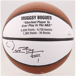 Muggsy Bogues Signed Career Highlight Stat Mini Basketball (JSA COA)