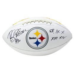 "Rocky Bleier Signed Pittsburgh Steelers Logo Football Inscribed ""SB IX X XIII XIV"" (Beckett COA)"