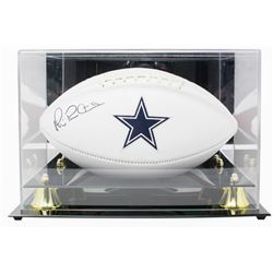 Michael Irvin Signed Dallas Cowboys Logo Football with Acrylic Display Case (Beckett COA)