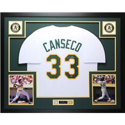 "Jose Canseco Signed Athletics 35"" x 43 Custom Framed Jersey Display (Leaf COA)"