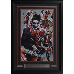 "Greg Horn Signed ""Harley Quinn  Joker"" 17x25 Custom Framed Lithograph Display (JSA COA)"
