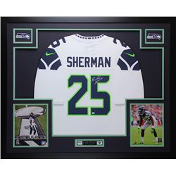 "Richard Sherman Signed Seahawks 35"" x 43"" Custom Framed Jersey (Sherman COA)"