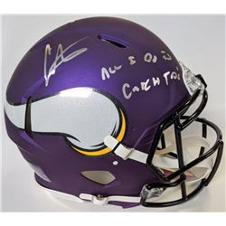 "Cris Carter Signed Minnesota Vikings Full-Size Authentic On-Field Helmet Inscribed ""All I Do Is Catc"
