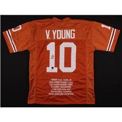 Vince Young Signed Texas Longhorns Career Highlight Stat Jersey (Beckett COA)