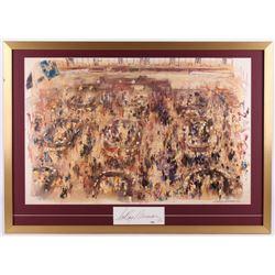 "LeRoy Neiman Signed ""New York Stock Exchange"" 28x39 Custom Framed Cut Display (PSA COA)"