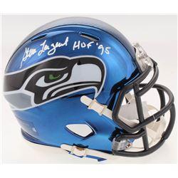 "Steve Largent Signed Seattle Seahawks Chrome Speed Mini-Helmet Inscribed ""HOF 95"" (JSA COA)"