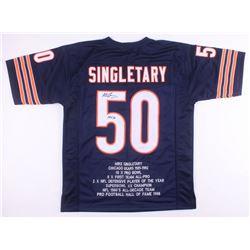 "Mike Singletary Signed Chicago Bears Career Highlight Stat Jersey Inscribed ""HOF 98"" (JSA COA)"