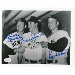 Mickey Mantle, Bobby Murcer  Roger Maris Signed New York Yankees 8x10 Photo (JSA LOA)