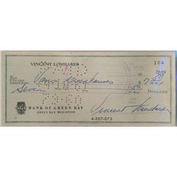 Vince Lombardi Signed Personal Check (BGS Encapsulated)