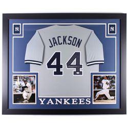 Reggie Jackson Signed New York Yankees 35x43 Custom Framed Jersey (JSA COA)
