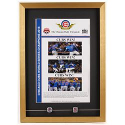 2016 World Series Champion Chicago Cubs 18x25 Custom Framed Photo with (2) Replica Rings