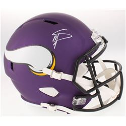 Stefon Diggs Signed Minnesota Vikings Full-Size Custom Matte Purple Speed Helmet (Beckett COA)