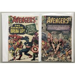 """Lot of (2) 1964-65 """"The Avengers"""" First Series Marvel Comic Books with Issue #10  Issue #12"""