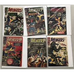 """Lot of (6) 1966 """"The Avengers"""" First Issue Marvel Comic Books with Issue #32, Issue #33, Issue #34,"""