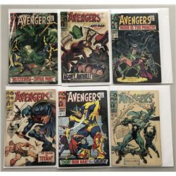 """Lot of (6) 1967-68 """"The Avengers"""" First Issue Marvel Comic Books with Issue #45, Issue #46, Issue #4"""