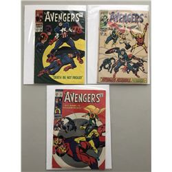 """Lot of (3) 1968 """"The Avengers"""" First Issue Marvel Comic Books with Issue #56, Issue #58  Issue #59"""