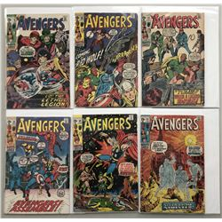 """Lot of (6) 1970-71 """"The Avengers"""" First Issue Marvel Comic Books with Issue #79, Issue #80, Issue #8"""