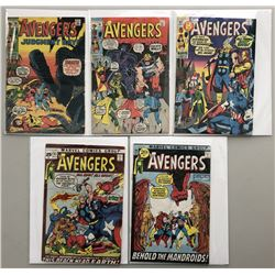 """Lot of (5) 1971 """"The Avengers"""" First Issue Marvel Comic Books with Issue #90, Issue #91, Issue #92,"""