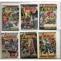 """Lot of (6) 1972 """"The Avengers"""" First Issue Marvel Comic Books with Issue #95, Issue #96, Issue #97,"""