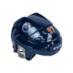 "Connor McDavid Signed Edmonton Oilers Full Size Limited Edition Helmet Inscribed ""MVP"" (UDA COA)"