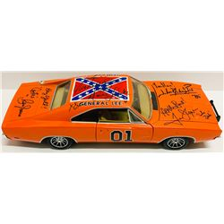 "John Schneider, Tom Wopat,  Catherine Bach Signed ""General Lee"" Dukes of Hazzard 1/18 Die Cast Car w"